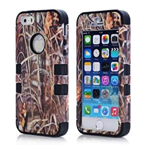 SHHR-HX5S33N Luxury 3 in 1 Straw Grass Mossy Camo Hybrid Cover Case For iPhone 5/5S-Black Silicone