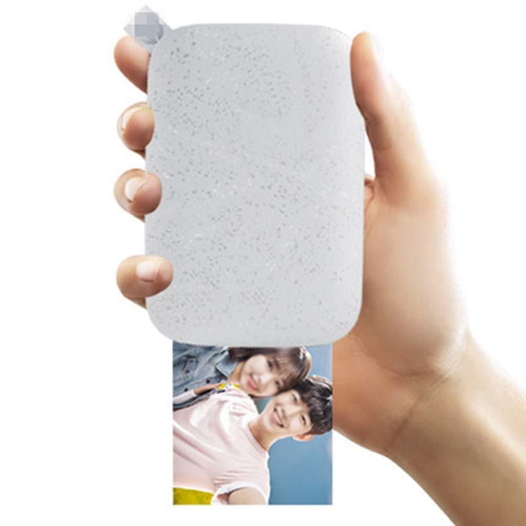 Pocket Photo Printer Mobile Pahone Bluetooth Portable Printer Mini Home Sprocket for Photo Paper Printing No Ink (Color : White) by Zyj-Photo printer