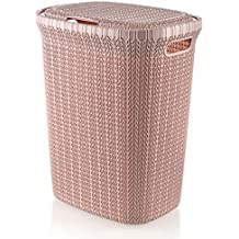Wee's Beyond W08-1076-Powder Pink Knit Style Laundry Hamper 55 Liters, Powder Pink
