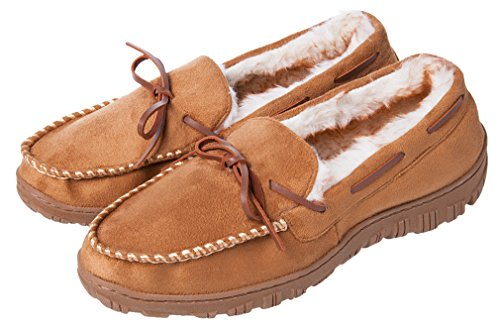 - Festooning Men's Microsuede Moccasin Slippers Beige Rubber Outdoor Shoes 9 M US