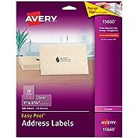 "Etiquetas de dirección fáciles de despegar de Avery Clear para impresoras láser de 1 ""x 2-5 /8"", paquete de 300 (15660)"