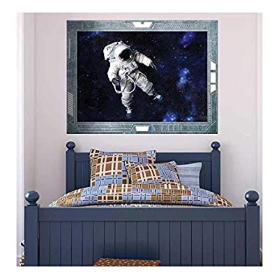 Wall26 - Science Fiction ViewPort - Decal - View onto an Astronaut Floating in Space - Wall Mural, Removable Sticker, Home Decor - 36x48 inches