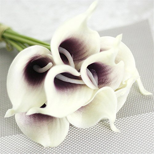 Pack of 10 PU Calla Lily Bouquet Artificial Fake Flower Bunch Bouquet Bridal Bouquet Wedding Living Room Table Home Garden Decoration ()