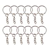 PandaHall Elite 200PCS 25mm Iron Split Key Ring with Chain Bulk for Crafts