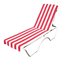 J & M Home Fashions Lounge Chair Beach Towel With Fitted Pocket Top, 26 by 82-Inch, Red