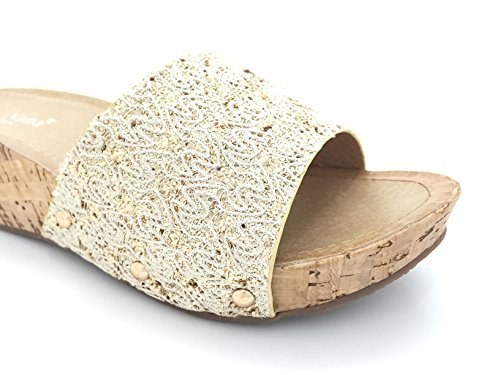 Wedge and Sequins Sandals Chic Lace Gold Woman wqawEI0