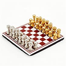Odoria 1:12 Miniature Metal Chess Set 32 Chesses and Chessboard Dollhouse Decoration Accessories