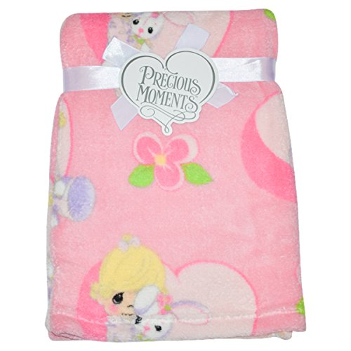 Precious Moments Super Soft and Comfy Pink Fleece Baby Blanket, Girl Hugging Rabbit by Precious Moments