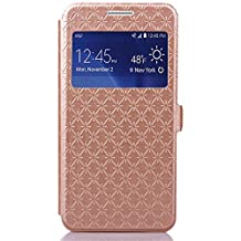 Arroker PU Leather + TPU Back Protection Flip Wallet Stand Case with Window for Samsung Galaxy Grand Prime G530 (Golden)