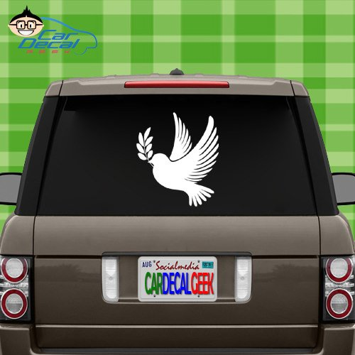 Car Decal Geek Dove Peace Bird Vinyl Decal Sticker Bumper Cling for Car Truck Window Laptop MacBook Wall Cooler Tumbler | Die-Cut/No Background | Multi Sizes/Colors White, 14