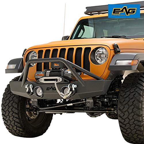 - EAG Front Bumper Off Road with Fog Light Hole and D-Ring Fit for 18-19 Jeep Wrangler JL