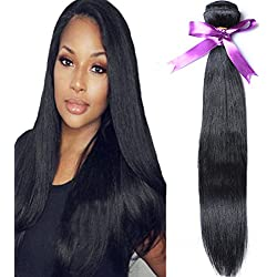 Angie Queen Brazilian Virgin Hair Straight Hair One Bundle 24inch 100% Unprocessed Virgin Human Hair Extension Hair Weave Weft Natural Color (100+/-5g)/bundle Can be Dyed and Bleached