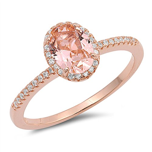 Rose Gold-Tone Oval Champagne Simulated CZ Ring New .925 Sterling Silver Band Size 5