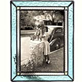 J Devlin Pic 419-57HV Aquamarine Blue Stained Glass 5x7 Picture Frame Home Decor Photo Frame Keepsake Gift