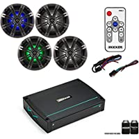 Kicker 44XKMA4004 400 watt amp with two pairs of KM654LCW LED 6.5 Marine speakers and Kicker KMLC LED Remote