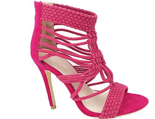 mujer tiras alto para enjaulado tacón fucsia de tejidas sandalias tobillo zapatos Nuevo C4a5fxqq