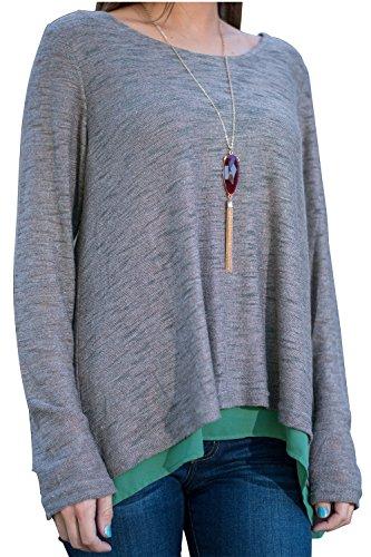 Manga larga báscias Casual blusa t-shirt de la mujer