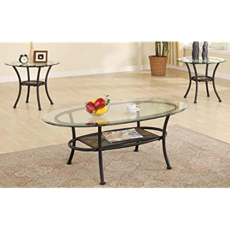 3 Piece Accent Table Set With Glass Top By Poundex