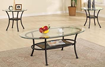 3pc Metal Coffee Table End Tables Set In Black Finish