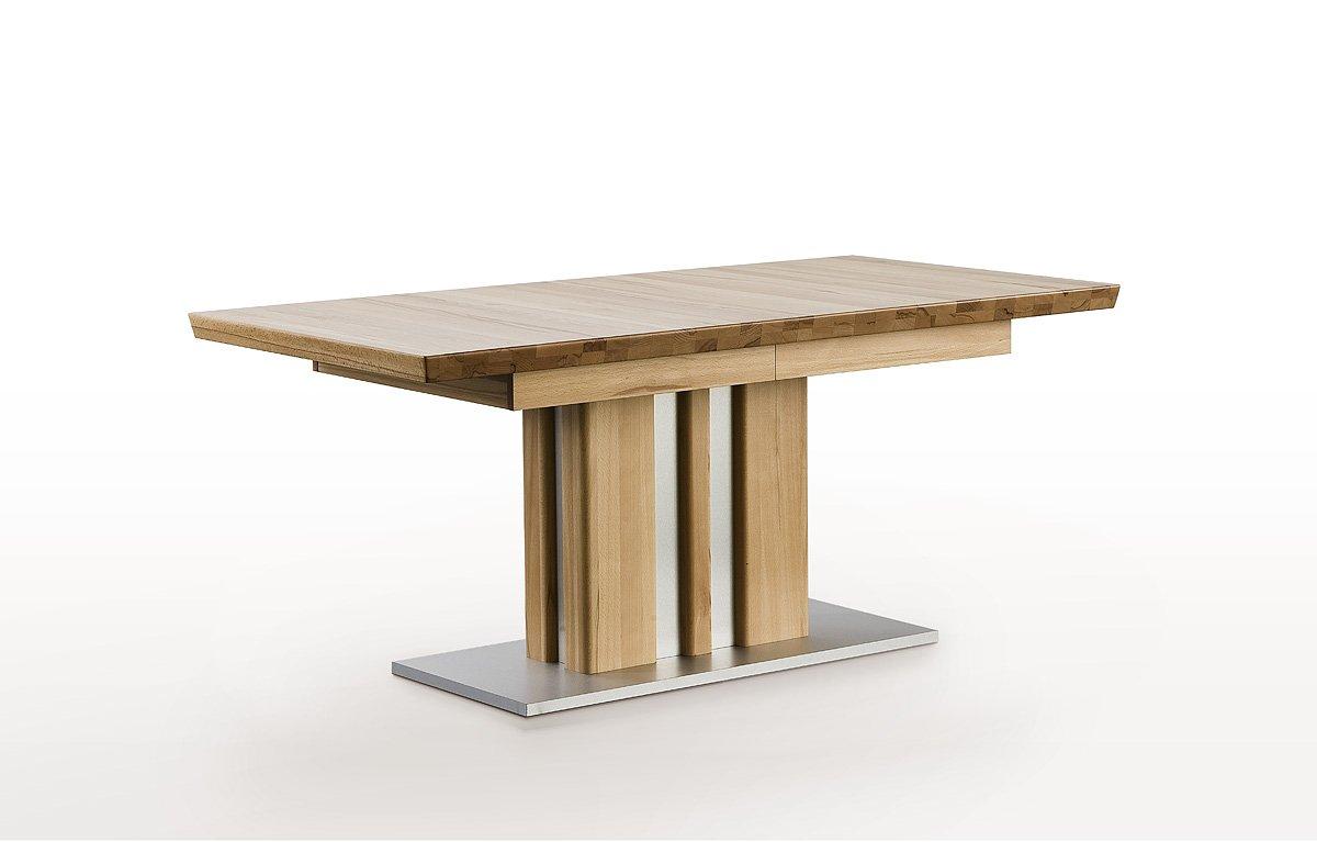 Esstisch, Massivholztisch, Säulentisch, Kernbuche, ausziehbar, L= 160-260 cm
