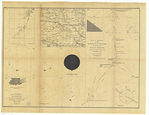 Vintography 8 x 12 inch 1869 US Old Nautical map Drawing Chart Illustrations to Reports on Observations The Solar Eclipse August 7, 1869 Plan Stations at Which The Duration Totality was Obs by Vintography