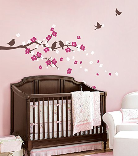 Cherry Blossom Branch Decal with Birds - by Simple - Canada Blossom Cherry