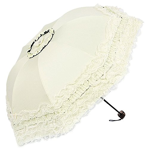 Honeystore Princess Lace Ultraviolet-Proof Folding Umbrella Anti-uv Dome Parasol Style1 Ivory by Honeystore