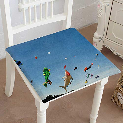 (Chair Pads Classic Design Multicolored Kites Against a Clear Blue Sky Cotton Canvas Futon 18