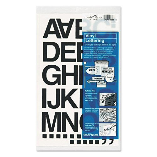 Chartpak 01040 Press-On Vinyl Letters & Numbers, Self Adhesive, Black, 1 1/2-Inch h, 37/Pack