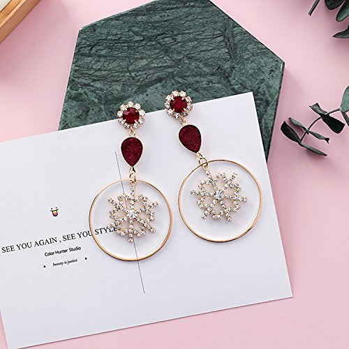 High-Season MENGJIQIAO 2018 Spring Rhinestone Snowflake Pendientes Mujer Moda Statement Big Circle Long Drop Earrings For Women Brincos (Wine Red) ()