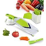 Mandoline Slicer,Asscom Vegetable Slicer,Vegetable Cutter,Cheese Slicer,Vegetable Julienne Slicer with Grade Stainless Steel Blades,1 Kitchen V Slicer+1 Vegetable Brush+1 clean brush, 4-Blade Slicer