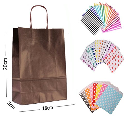 1 x BROWN PARTY PAPER GIFT BAGS – WITH MATCHING CANDY STRIPE SWEET BAG