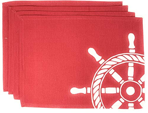 (Nantucket Home Sea Life Cotton Canvas Placemats, Set of 4 (Ship's Wheel on Red Background))
