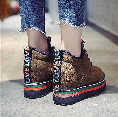 Autumn Korean Girls Shoes Plus Sponge Warm Cotton Winter Thick KHSKX Fashion 39 Increase Cake Version Shoes Single And Casual New Women'S Velvet Of To Shoes qPCfd