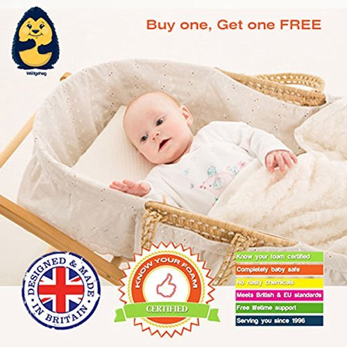 TWO PACK - The Wedgehog® Moses Basket Reflux Wedge (28cm) - also perfect for colic and congestion - includes Free Bundled Reflux eBook 28cm Wedge x 2