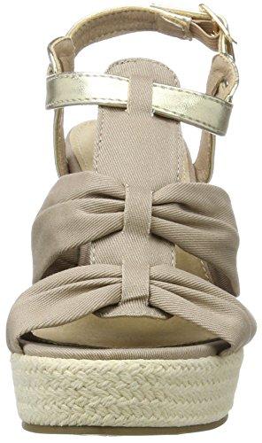 XTI Taupe Canvas Combined Ladies Sandals, Sandalias con Plataforma Para Mujer Marrón (Taupe)