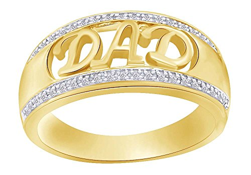 Round Cut Real Diamond DAD Ring 14K Gold Over Sterling Silver (1/10 Cttw) For Daddy Gift (Mens Diamond Ring Dad Round)