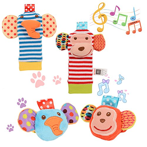 Acekid Baby Socks Rattle Toys,4pcs Baby Wrist Rattle and Foo