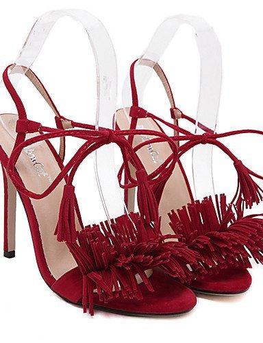 lfnlyx de zapatos de mujer stiletto talón abierto Toe sandalias vestido/casual negro/azul/rojo rojo