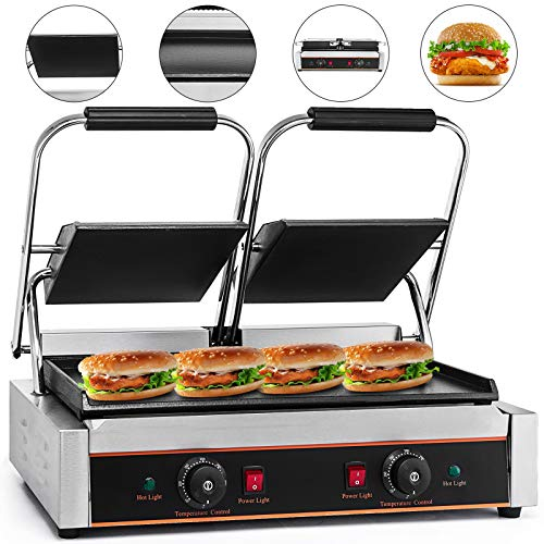 Happybuy Commercial Sandwich Press 110V Panini Grill Durable Stainless Steel Construction with Adjustable Temperature Control Cooking Non Stick Surface Double Flat Plates