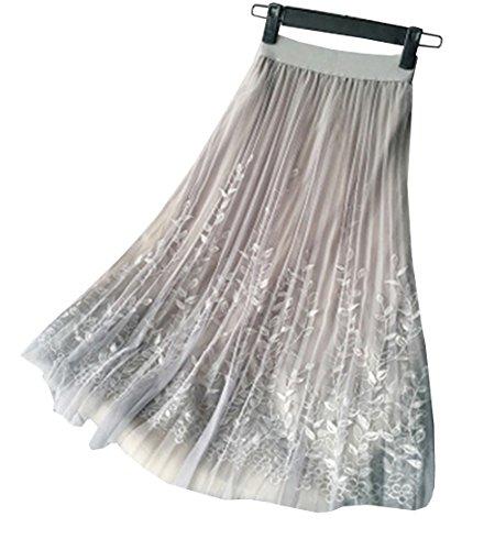 Gris Noir Plisse Noir zoulouyou Uni Femme Unique Taille Jupe SI5Hq8