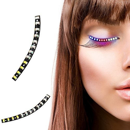 Playbuy LED Eyelashes costume eyelashes LED Light Luminous Shining Charming Eyelid Tape for Halloween,carnivals,costume party,prom theme party,rave party,dancing in parties,weddings&Nighttime event