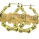 "Custom Personalized Gold plated Hoop Name Bamboo Earrings 2.0"" Custom Made with Any Names"