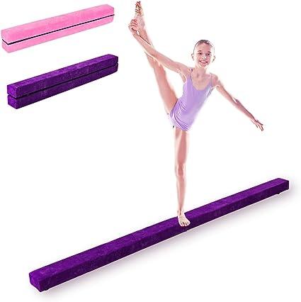 EPE et Pin 210 X 10 X 6,5 CM Entra/înement de Gymnastique /à Domicile Id/éale pour Enfants et Adultes Ros/é//Violet DREAMADE Poutre de Gymnastique d/'Equilibre Piable avec Pieds Sur/élev/és en Finette