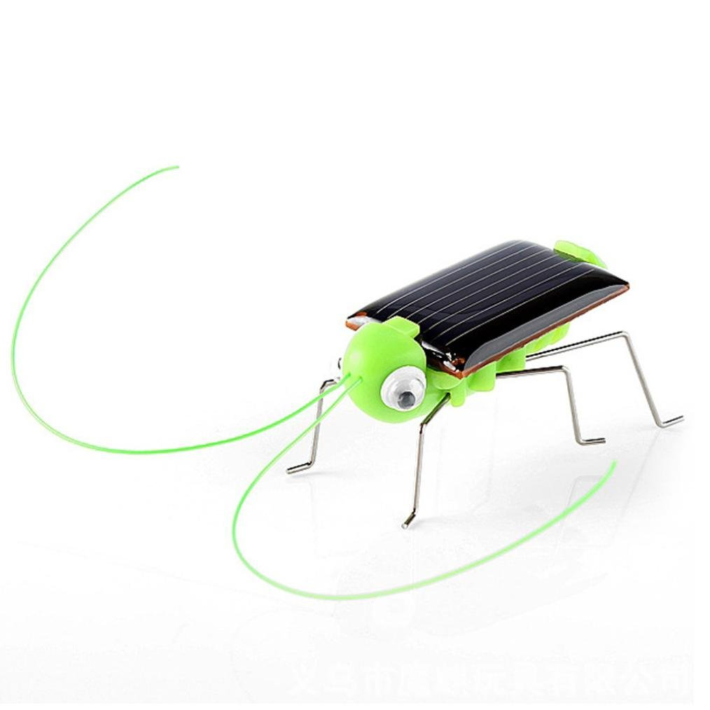 Gbell Solar Powered Grasshopper Mini Shaking Robot,Solar Powered Toy Gadget Educational Gift for Kids,Adults (Green)