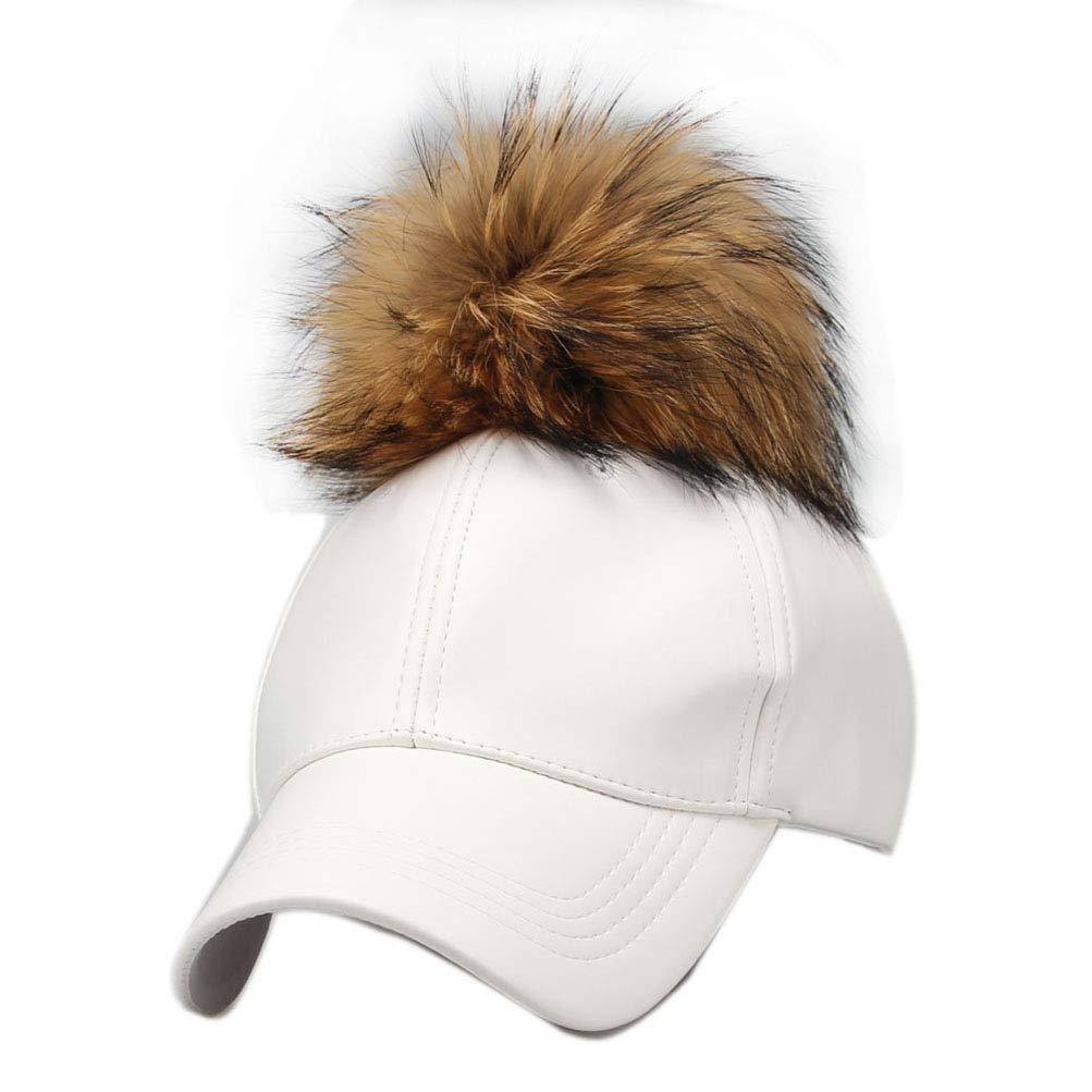 LUCHA Faux Leather Baseball Caps with Real Fur Pom Pom Outdoor Adjustable Hats
