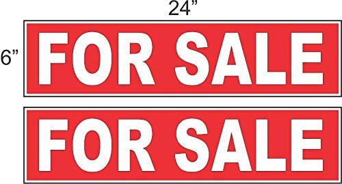 2 - 6x24 FOR SALE Real Estate Rider Sign Red REVERSE OUT