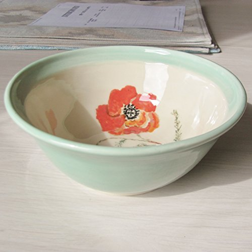 Ceramis Bowl Handmade Pottery Serving Dish Tableware Stoneware Hand Painted Flower Bowl