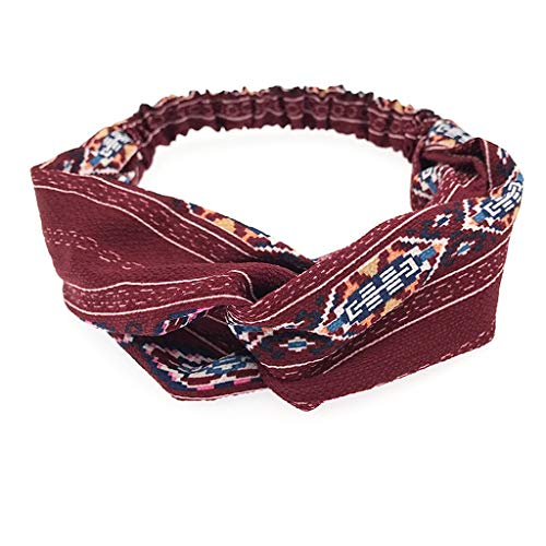 BUKEZH Women's Retro Hairband Winter Keep Warm Hair Head Hoop Practical Headband (Wine Red A) -