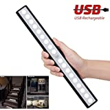 Motion Sensor Light Wireless Cabinet Lights for Closet,Drawer,Cupboard, 18-led Motion Sensing Under Cabinet Lighting,USB Rechargeable Magnetic Stick-on Anywhere LED Light Bar, White Light, Black